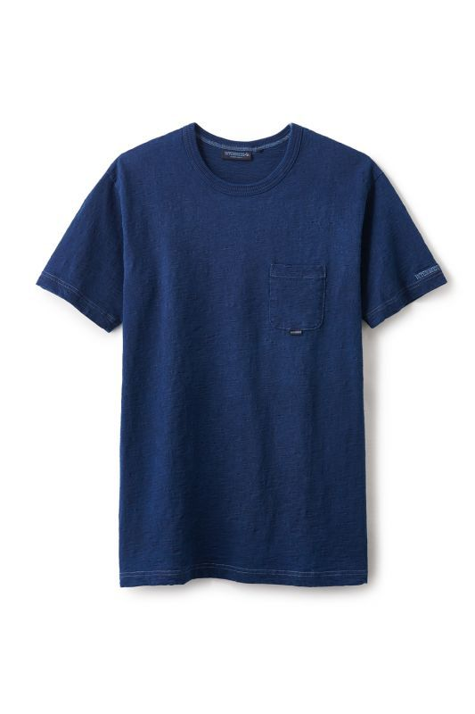 画像1: 【INTERBREED】Indigo Slab Cotton Pocket Tee