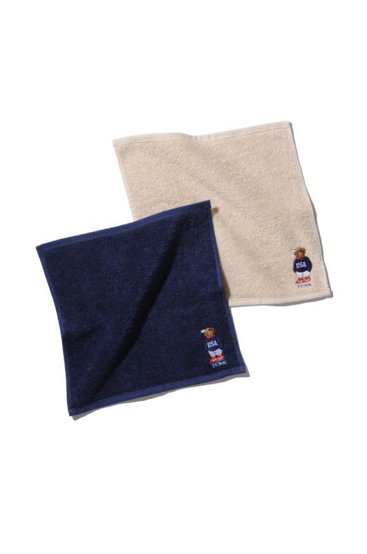 画像1: 【INTERBREED】USA Bear Embroidered Hand Towel