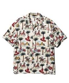 画像1: CALEE / Allover western patten S/S shirt -WHITE- (1)