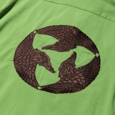 画像5: CALEE / Japan traditional embroidery S/S shirt -Lt GREEN- (5)