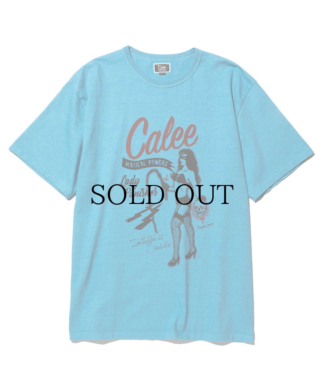 画像1: CALEE / Binder neck lady punisher t-shirt -Turquoise- (1)