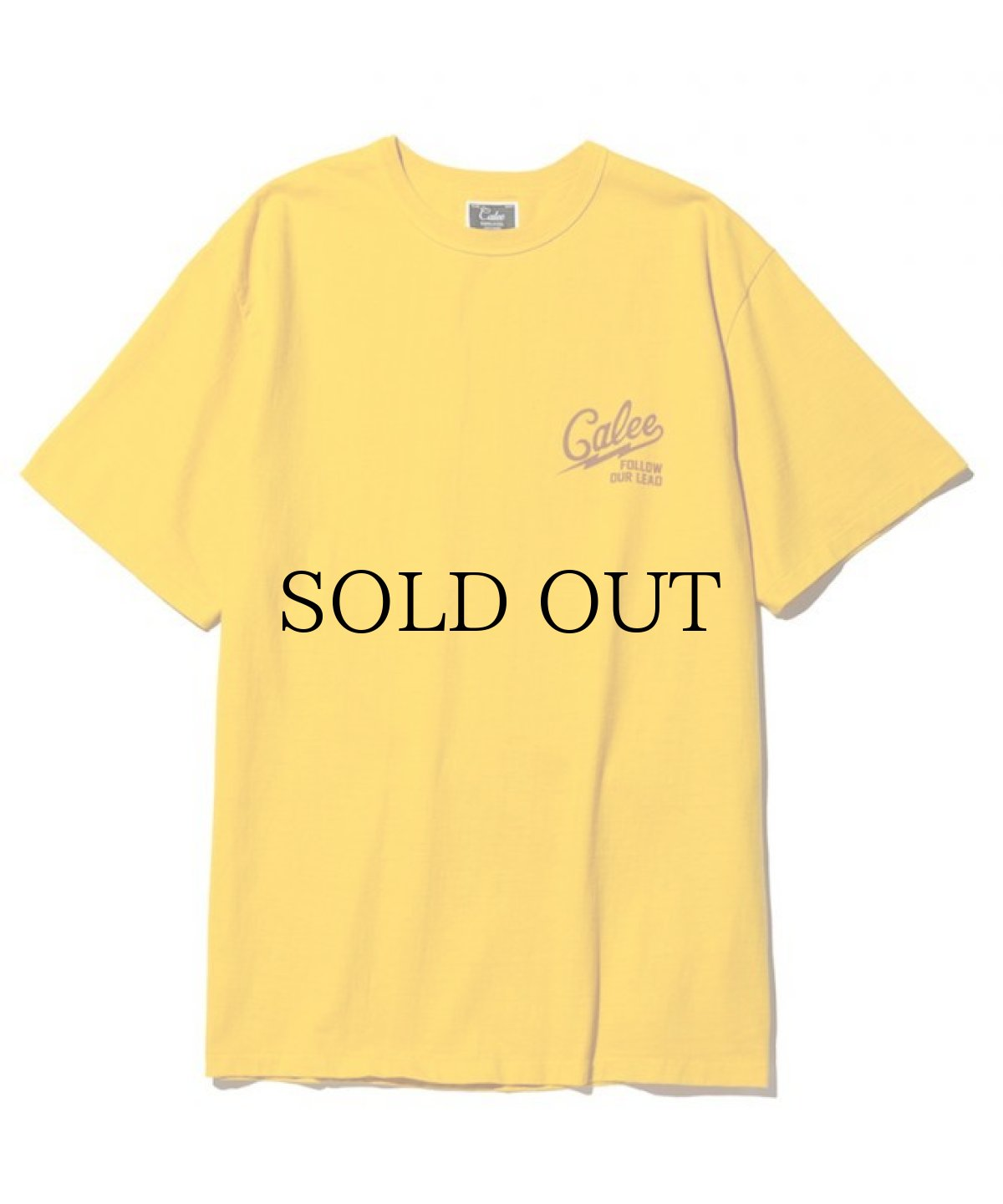 画像1: CALEE / Binder neck color t-shirt -YELLOW- (1)