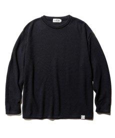 画像1: CALEE / Crew neck cotton knit sweater -BLACK- (1)