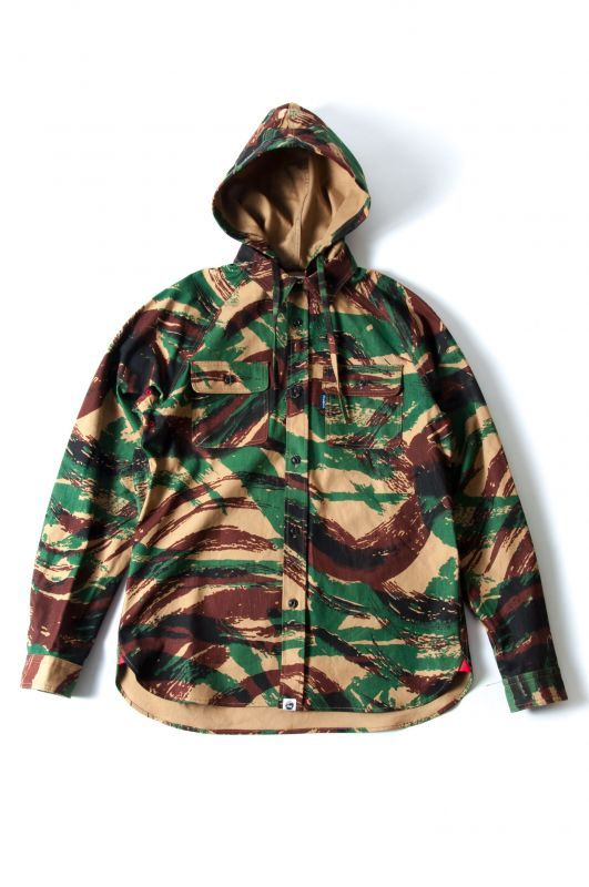 画像1: 【PREDAWN】 CAMO HOODED SHIRT