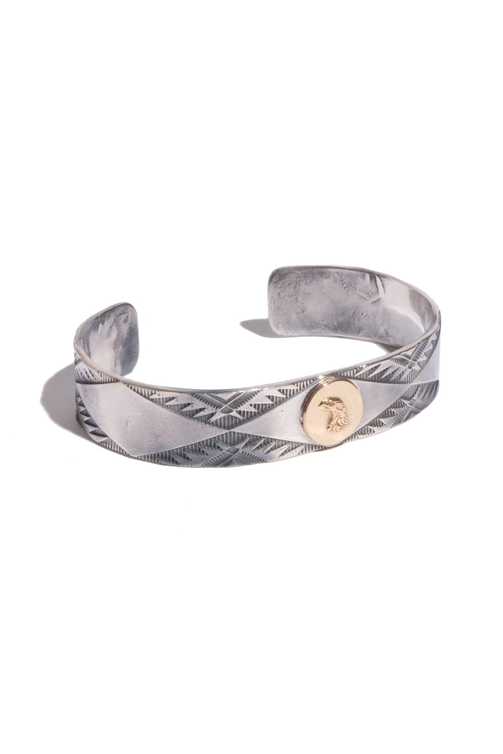 画像1: 【LARRY SMITH】 18K EAGLE FACE STAMP BANGLE (1)