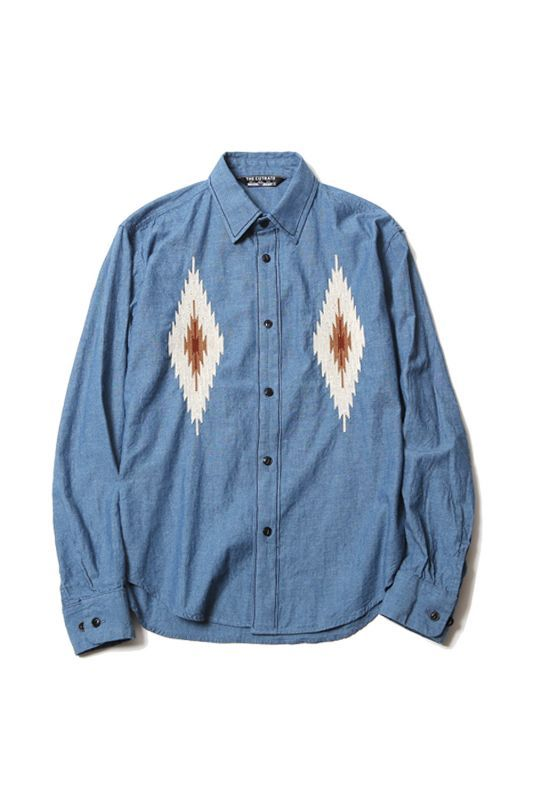 画像1: 【CUTRATE】 L/S NATIVE EMBROIDERY CHAMBRAY SHIRT (1)