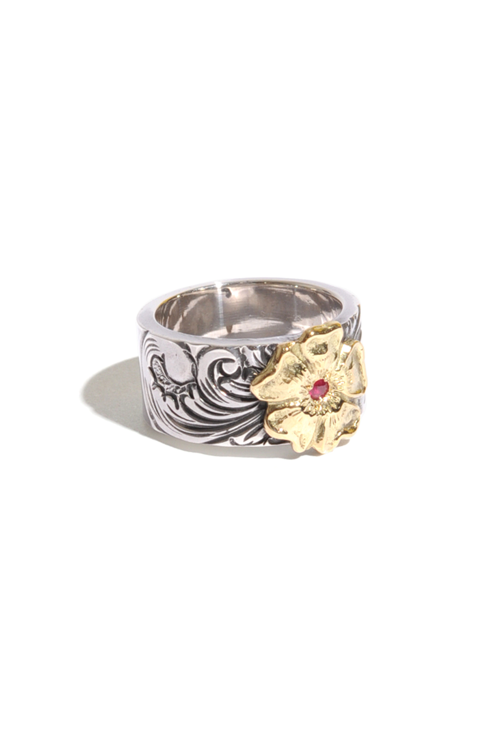 画像1: 【LARRY SMITH】18K ROSE KARAKUSA RING 10mm / with RUBY (1)