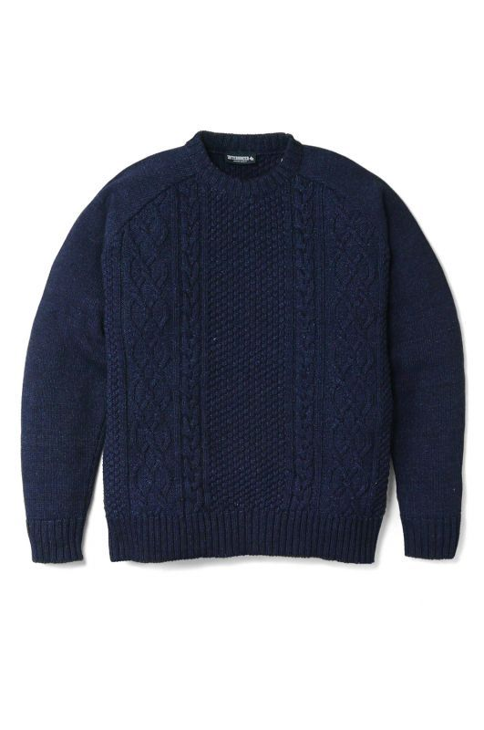 画像1: 【INTERBREED】  Indigo Dyed Hiding Logo Knit
