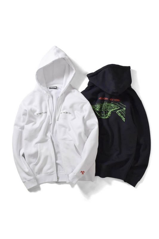 画像1: 【PRIVILEGE】NYNY GRID ZIP UP SWEAT