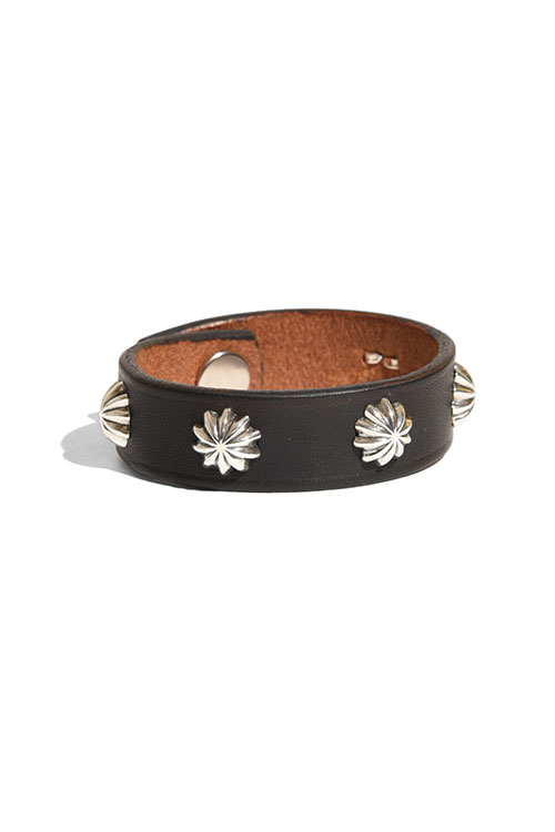 画像1: 【LARRY SMITH】5 SHELL CONCHOS LEATHER BRACELET (1)
