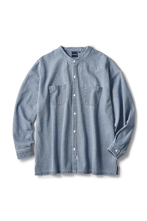 画像1: 【INTERBREED】 Washed Denim Stand Collar Shirt  (1)