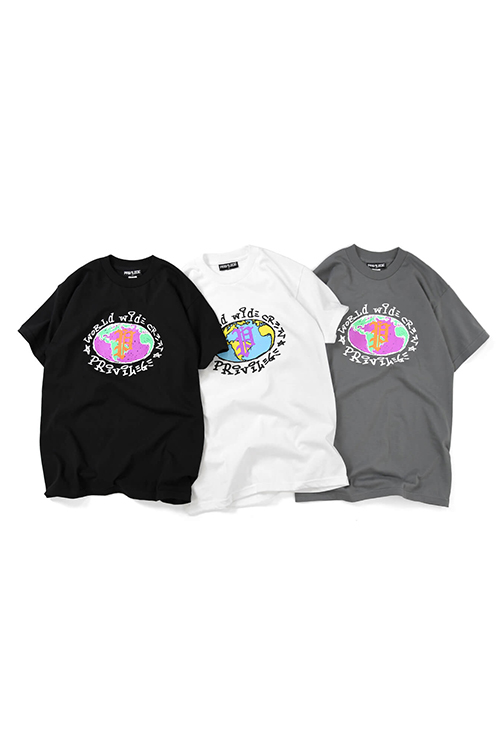 画像1: 【PRIVILEGE】 WORLD WIDE CREW TEE (1)