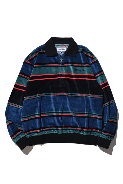 画像1: 【FUCKINGAWESOME】 Block Stripe Velour 1/4 Zip Shirt (1)