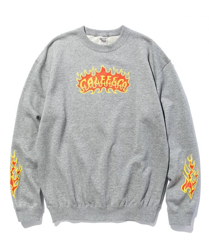 画像1: CALEE / Flame logo crew neck sweat -GRAY- (1)