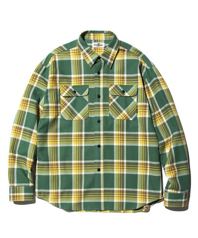 画像1: CALEE / L/S Check shirt -GREEN- (1)