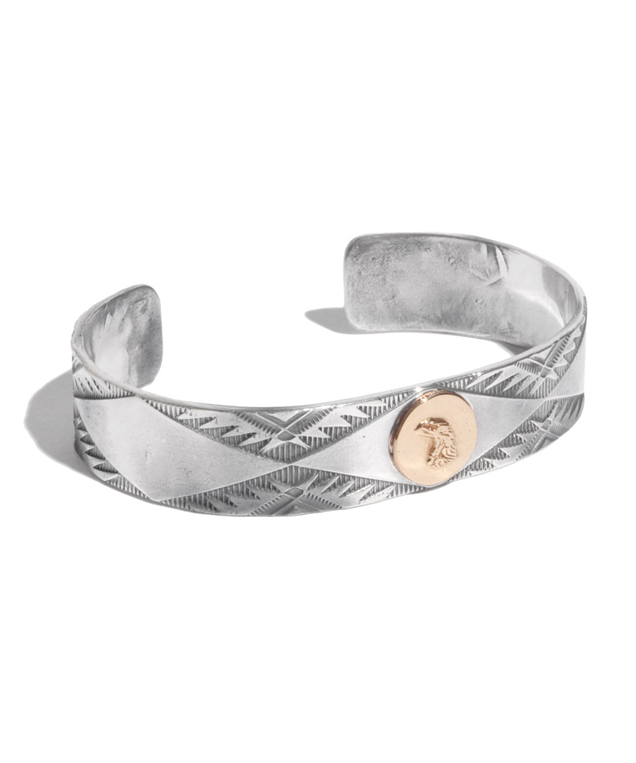 画像1: LARRY SMITH / 18K EAGLE FACE STAMP BANGLE (1)
