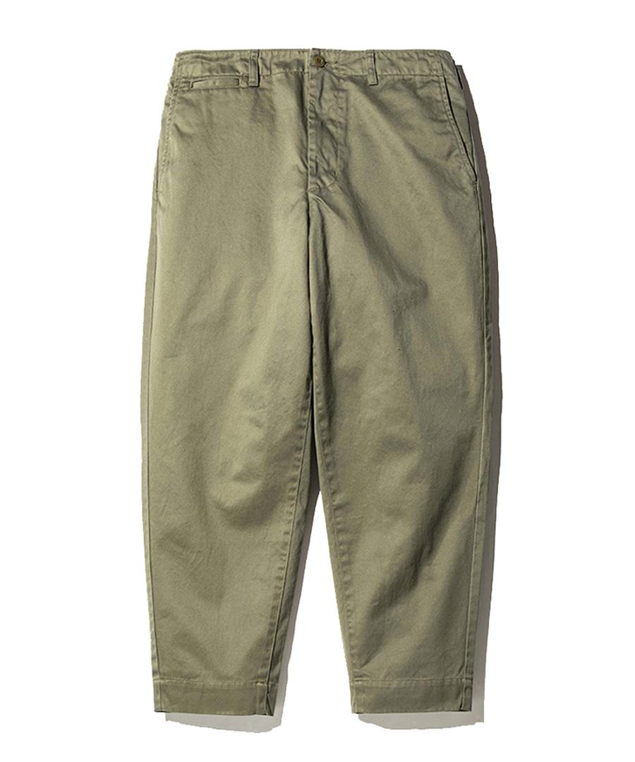 画像1: CALEE / West point wide chino pants -OLIVE- (1)