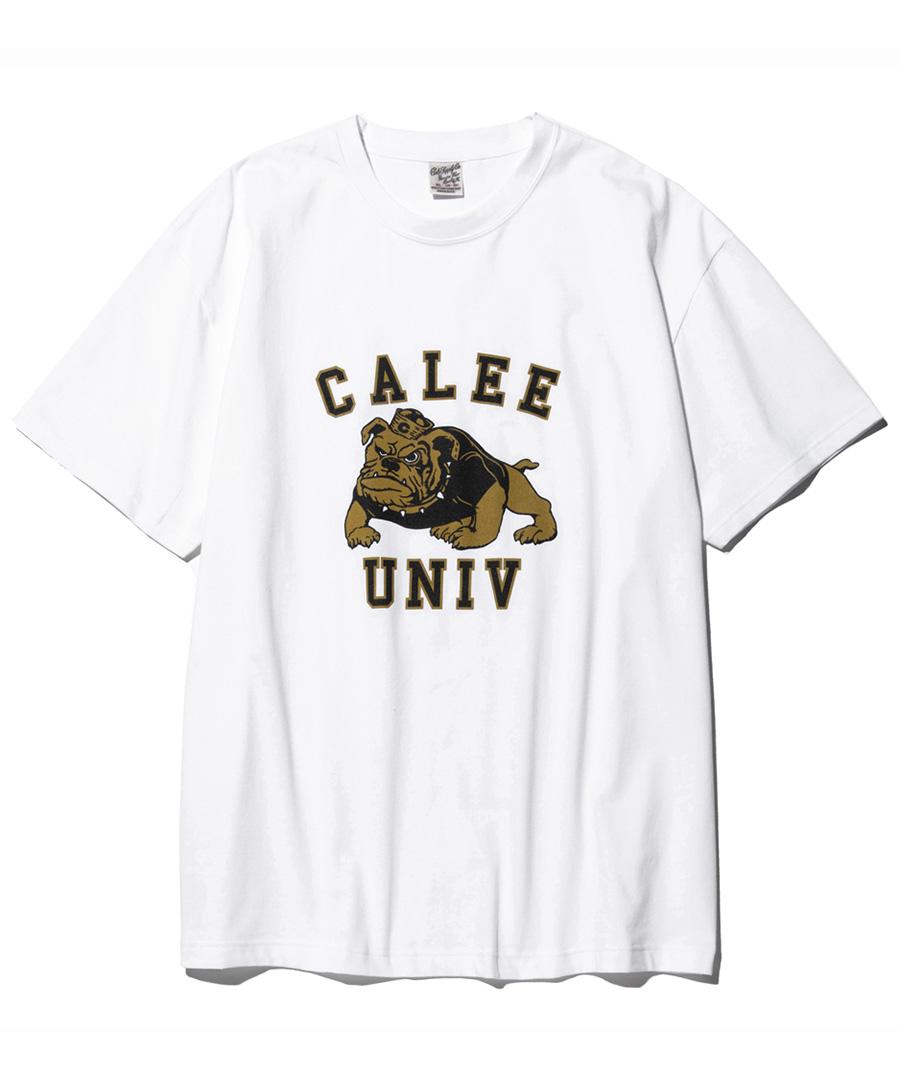 画像1: CALEE / Bull dog t-shirt -WHITE- (1)