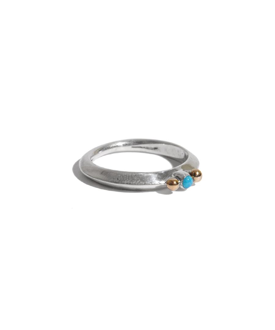 画像1: LARRY SMITH / EXTRA THIN TURQUOISE RING 18K POINTED (1)