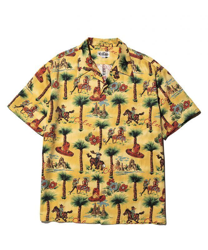 画像1: CALEE / Allover western patten S/S shirt -MUSTARD- (1)