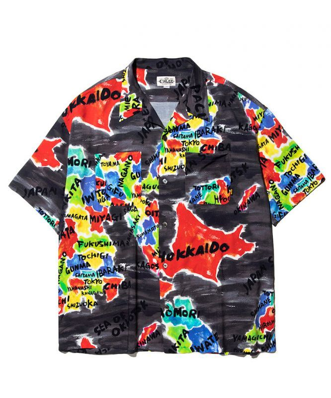 画像1: CALEE / Japan map pattern S/S shirt -BLACK- (1)