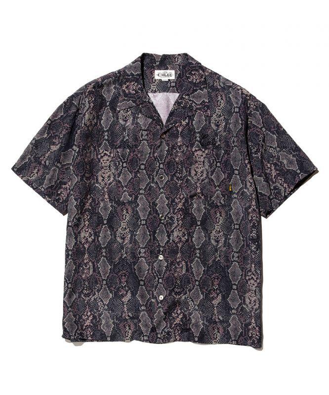 画像1: CALEE / Python pattern S/S shirt -BLACK- (1)