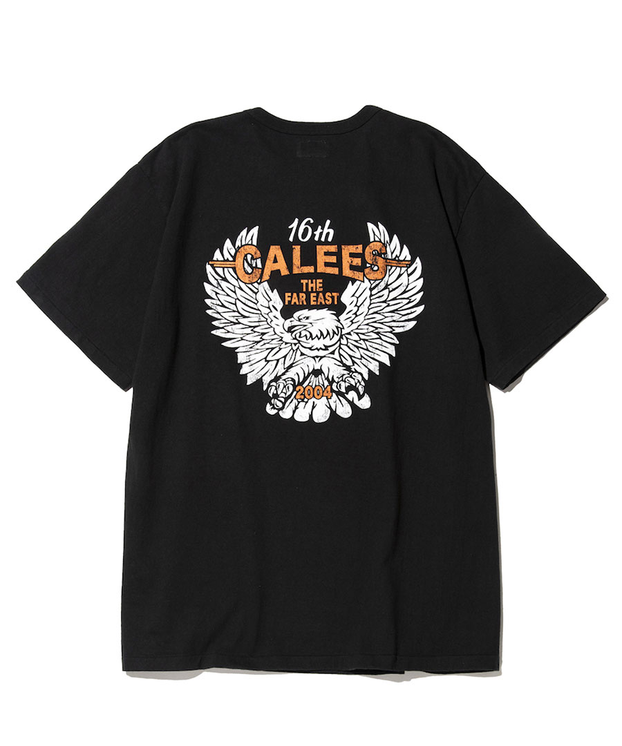 画像1: CALEE / Binder neck eagle pocket t-shirt -BLACK- (1)