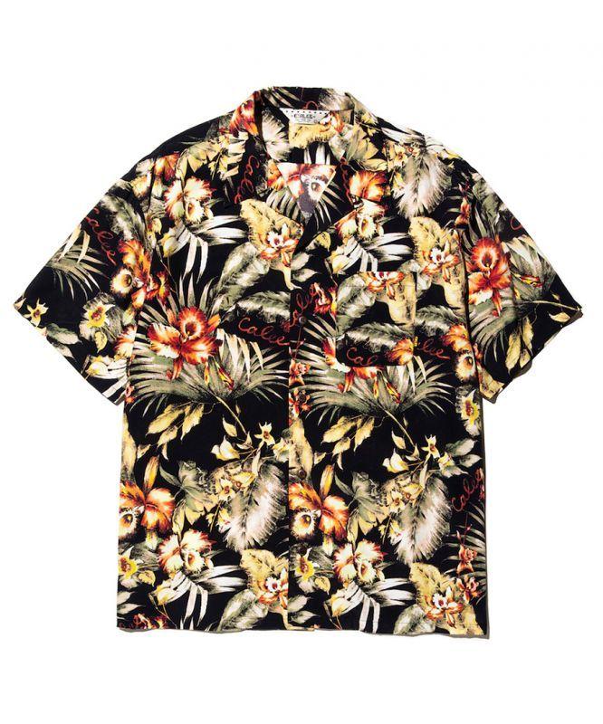 画像1: CALEE / Hawaiian S/S shirt -BLACK- (1)