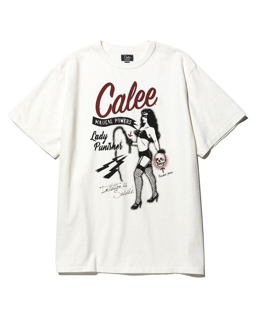 画像1: CALEE / Binder neck lady punisher t-shirt -White- (1)