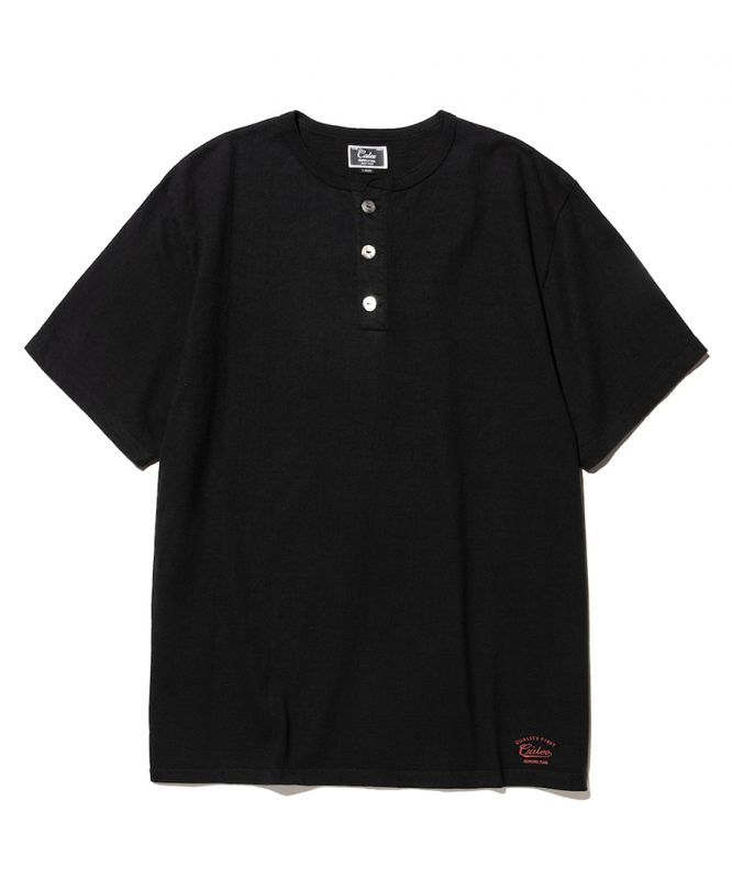 画像1: CALEE / Henley neck t-shirt -BLACK- (1)