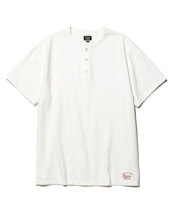 画像1: CALEE / Henley neck t-shirt -WHITE- (1)