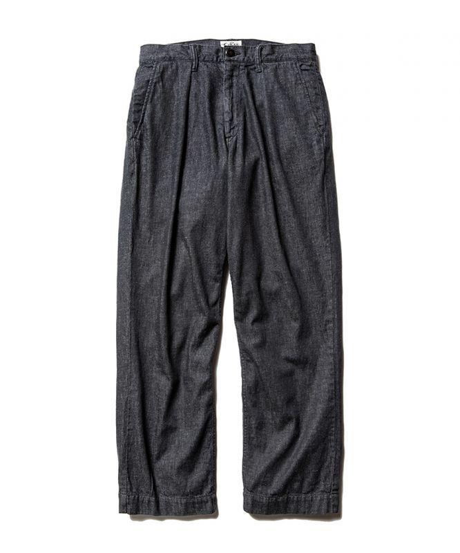 画像1: CALEE / More yarn denim trouser -BLACK- (1)